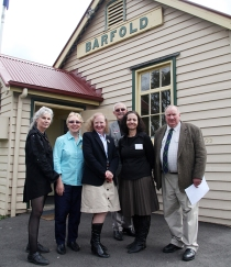 From left to right: Julie Millowick, Board Member of Regional Arts Victoria,  Sylvia Geddes, Board Member of Regional Arts Victoria, Amanda Millar MP,  Member for Northern Victoria, Councillor John Conner, Macedon Ranges Shire  Council, Liz Zito, Cultural Partnerships Manager, Regional Arts Victoria, Jim  Lowden, Mechanics Institute of Victoria. Photo by Pia Richardson