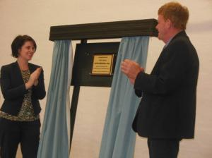 Emma Kealy MP and Councillor Mark Radford at the Mitre Hall 100 year celebration unveiling